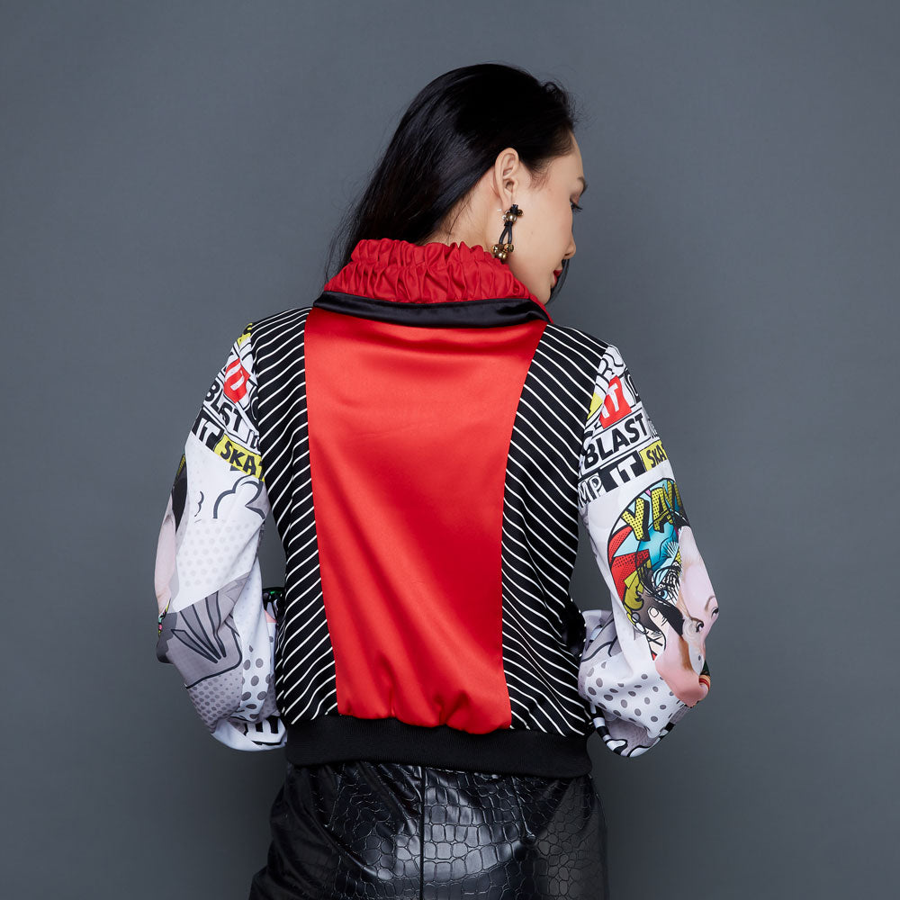 Biker Jacket With Marilyn Pow Red-2MADISONAVENUE.COM