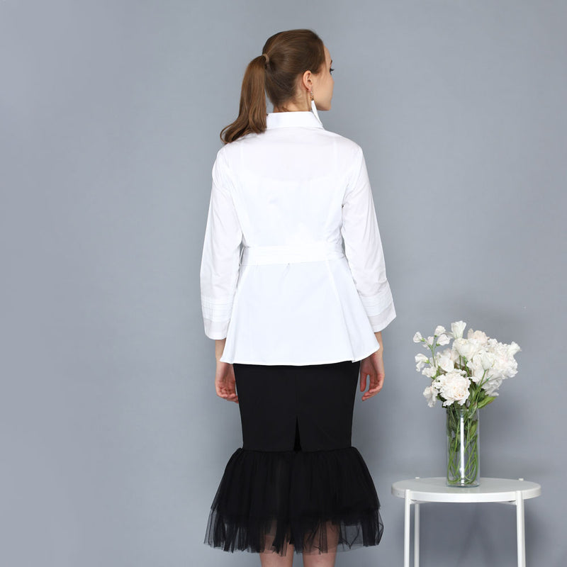 Smart Shirt with Belt Detail in White