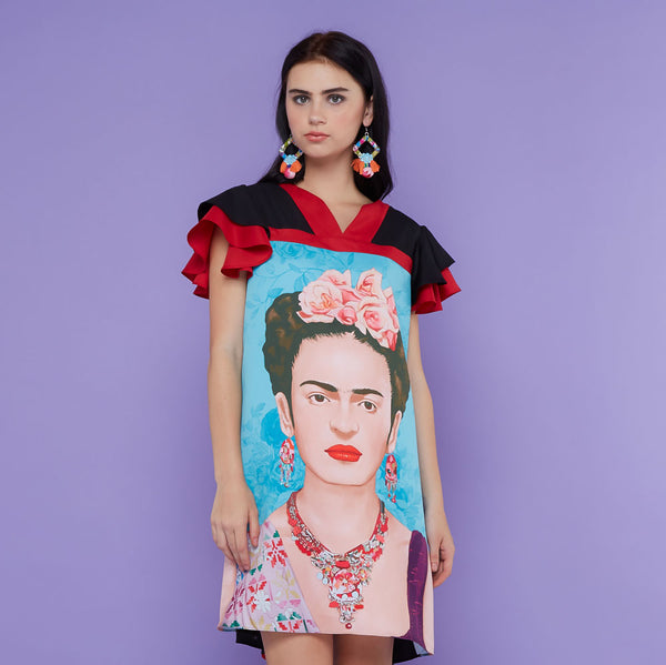 Tango Short Dress With Frida Kahlo Blue