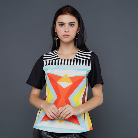 Ivanka Top with NewsPrint Art