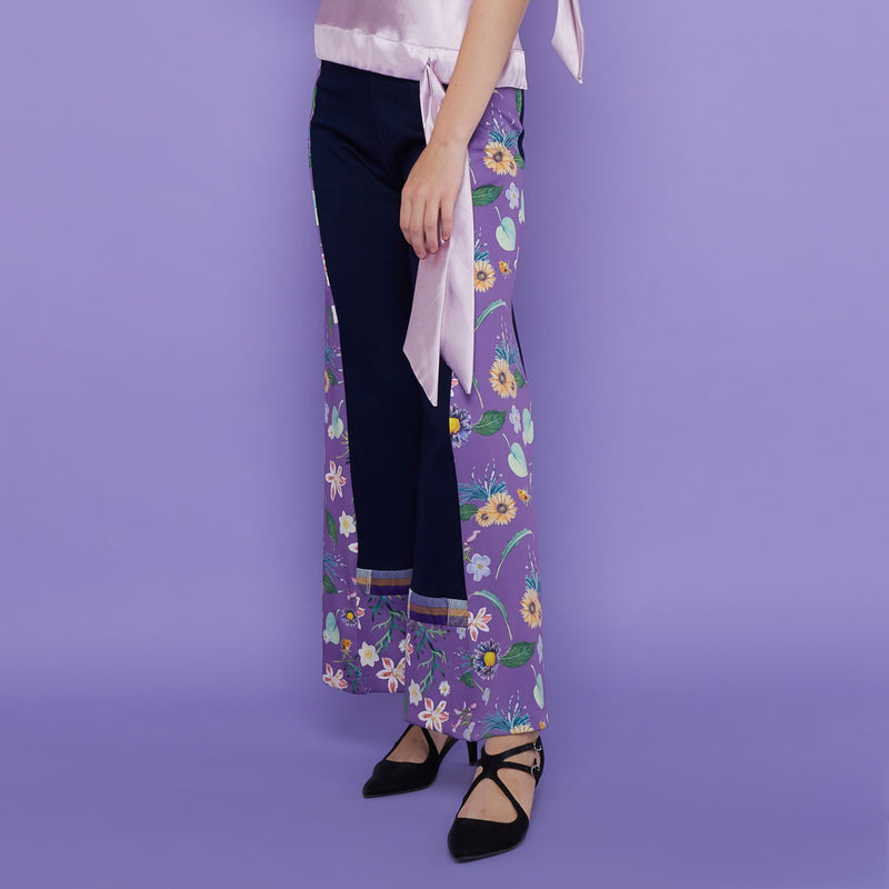 Boho Chic Denim Cullote With Spring Garden Art-2MADISONAVENUE.COM