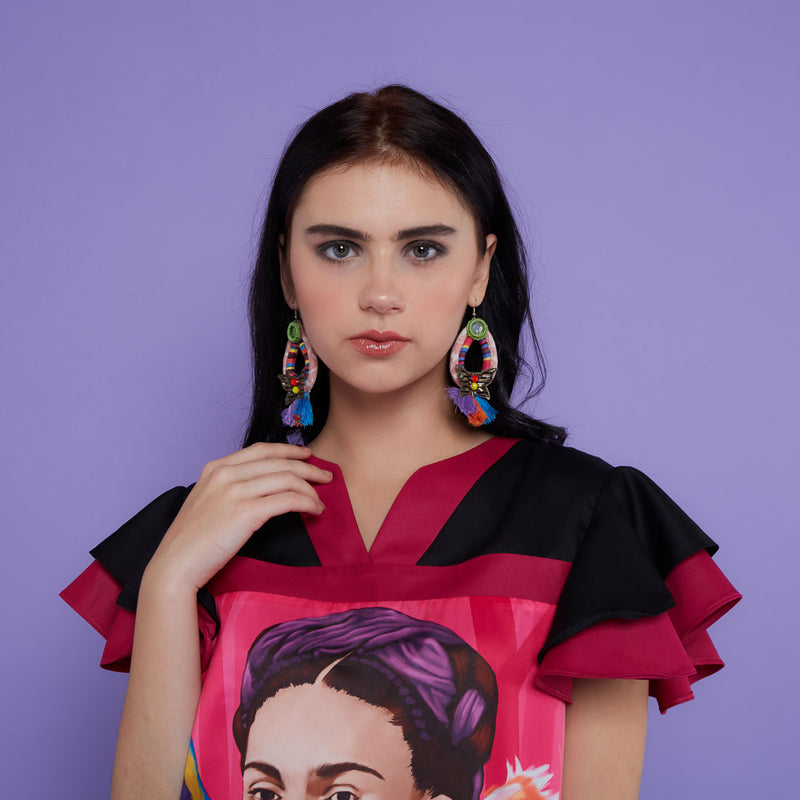 Tango Short Dress With Frida Kahlo Pink