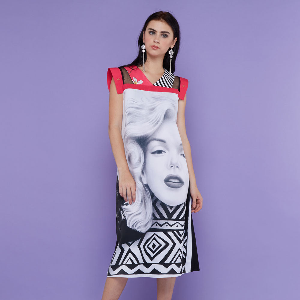 Gomez Dress With Marilyn Forever With Accent Pink-2MADISONAVENUE.COM