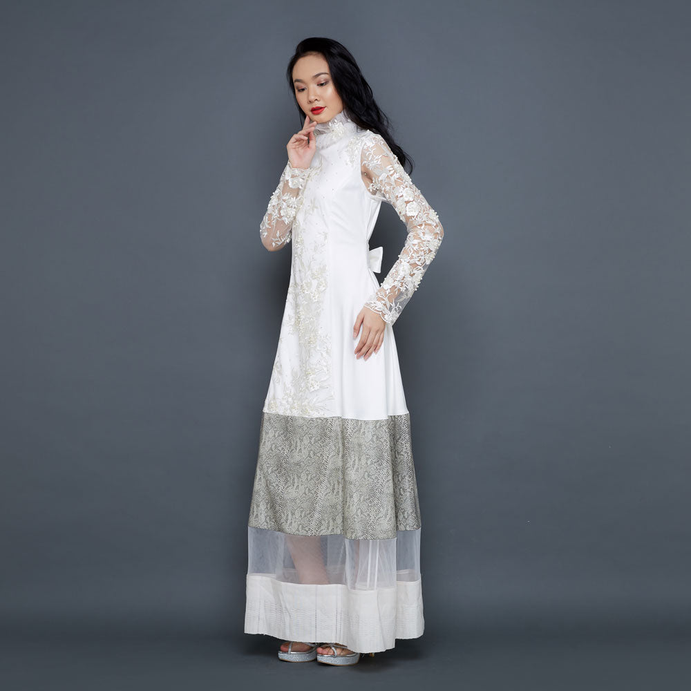 Jane Lace Long Dress in White-2MADISONAVENUE.COM