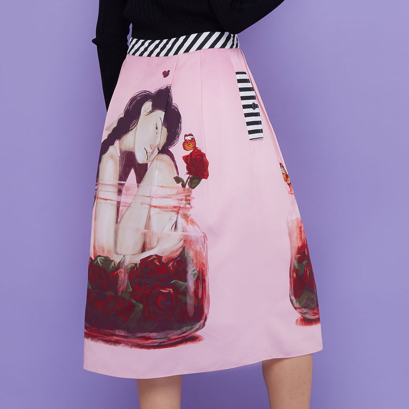 Boho Skirt With Enjoyment Art-2MADISONAVENUE.COM