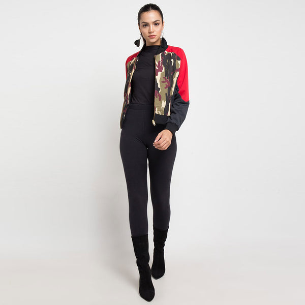 Destiny Army Varsity Jacket In Red-2MADISONAVENUE.COM
