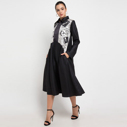 Kimberly Black Dress With News Print-2Madison Avenue Indonesia