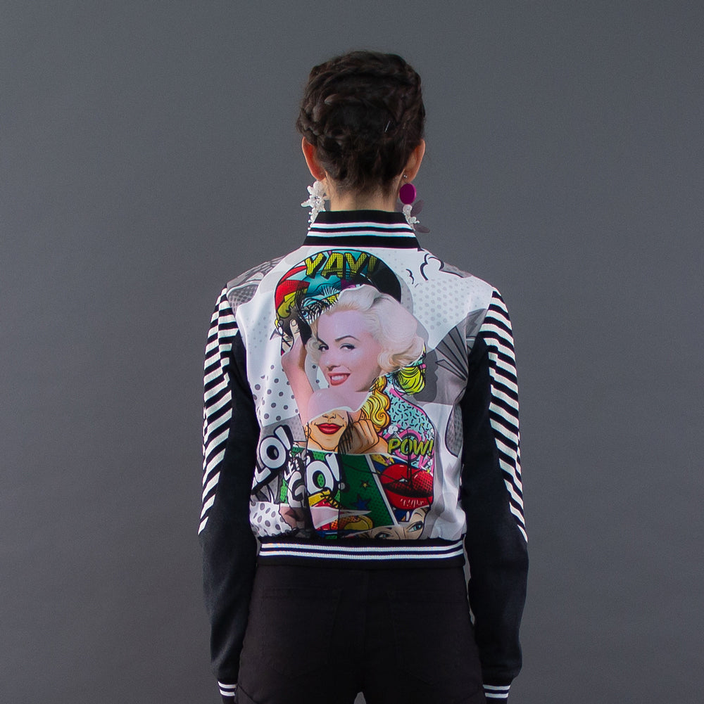 Varsity Jacket With Marilyn Pow Art-2MADISONAVENUE.COM
