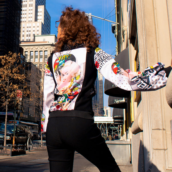 Biker Jacket With Marilyn Pow Black-2MADISONAVENUE.COM