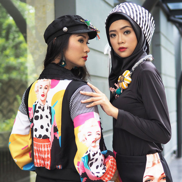 Varsity Jacket With Marilyn Pop Check