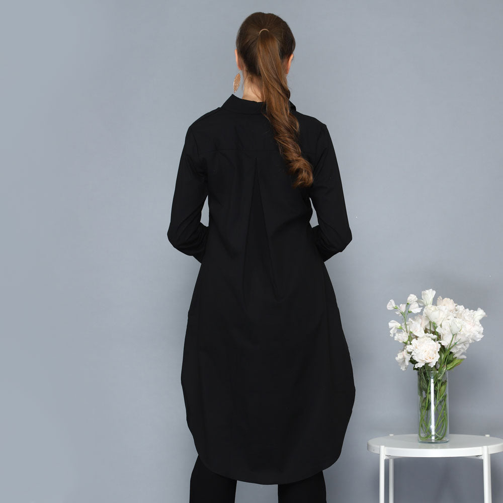 Smart Shirt with Tail in Black-2MADISONAVENUE.COM