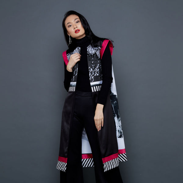 Frida Portrait Fancy Outer In Black Lace With Pink Accent-2Madison Avenue Indonesia