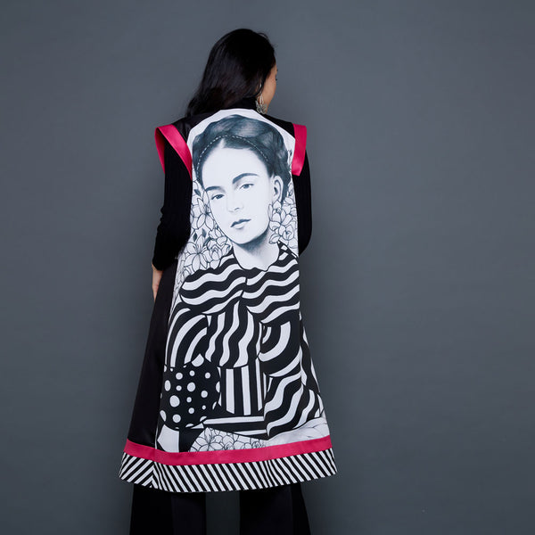 Frida Portrait Fancy Outer In Black Lace With Pink Accent-2MADISONAVENUE.COM