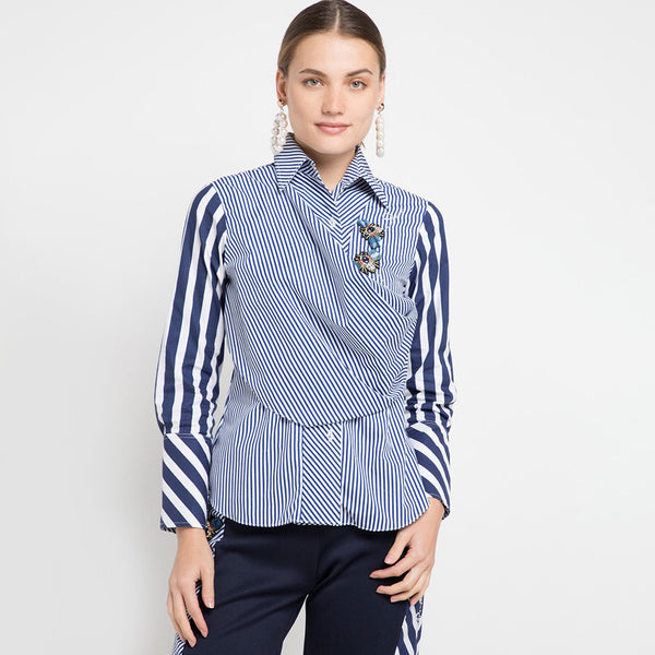 Fancy Blouse with attached scarf in stripe 3D Butterfly-2MADISONAVENUE.COM