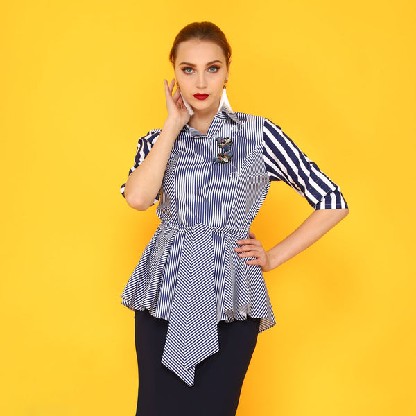 Smart Shirt with Belt Detail in Stripe Navy With 3D Butterfly