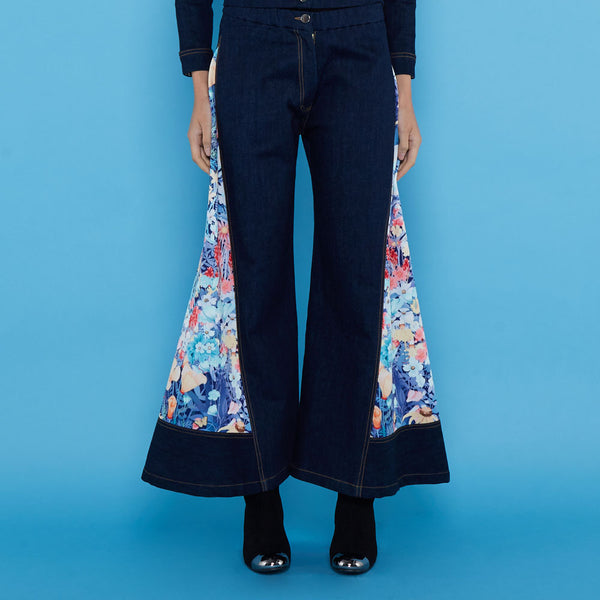 Boho Chic Denim Cullote With Secret Garden-2MADISONAVENUE.COM