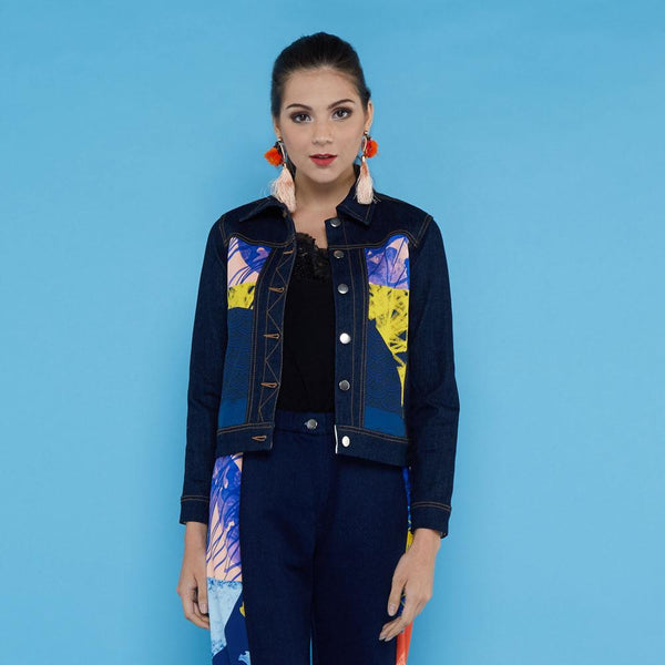 Boho Chic Denim Jacket Black With Orbital Navy #2-2Madison Avenue Indonesia