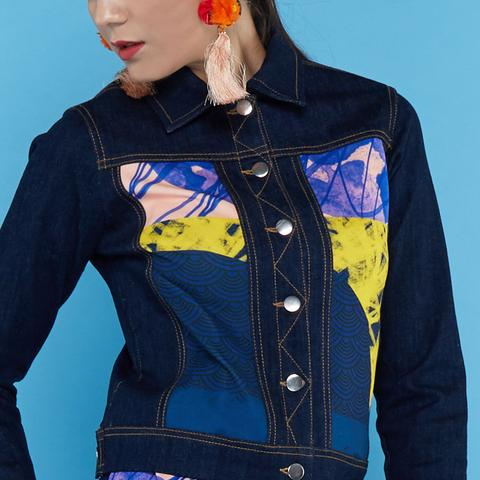 Boho Chic Denim Jacket Black With Orbital Navy #2-2MADISONAVENUE.COM