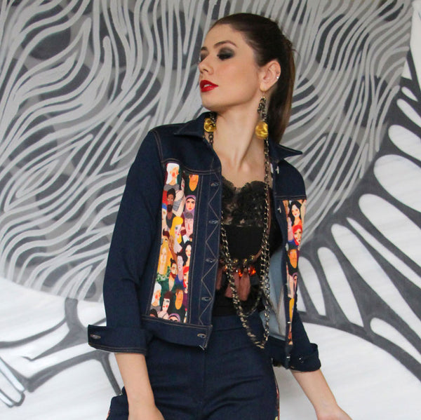 Boho Chic Denim Jacket Black With Diversity #2-2MADISONAVENUE.COM