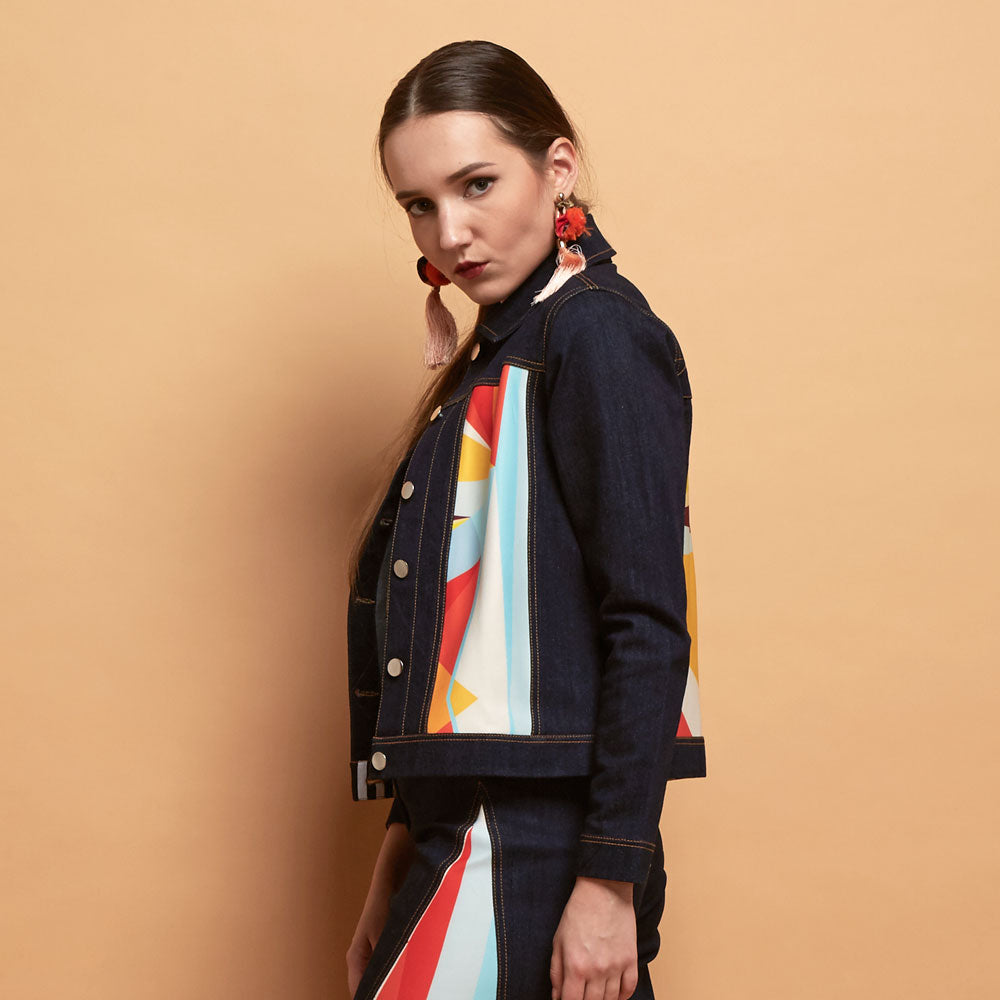 Boho Chic Denim Jacket With Geo Street Style-2Madison Avenue Indonesia
