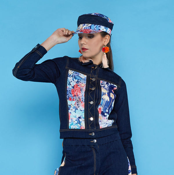 Boho Chic Denim Jacket With Secret Garden-2MADISONAVENUE.COM