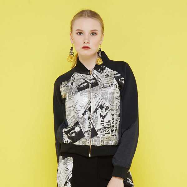 Varsity Jacket With News Print-2Madison Avenue Indonesia