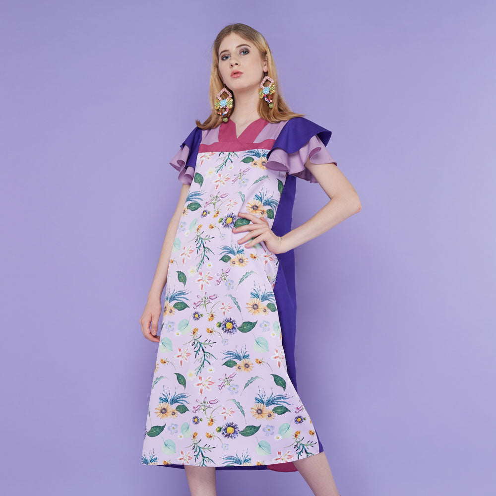 Tango Dress With Spring Garden in Lavender-2MADISONAVENUE.COM