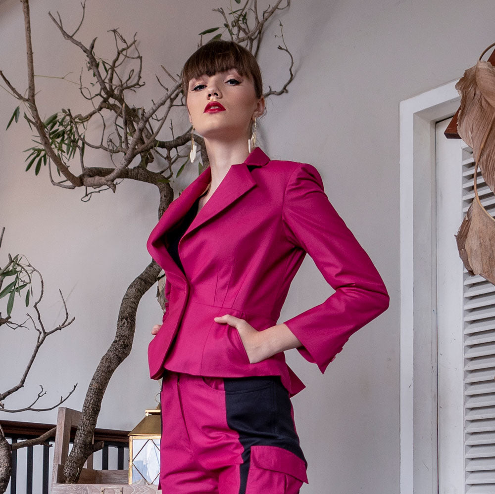 Signature Blazer in Magenta-2MADISONAVENUE.COM