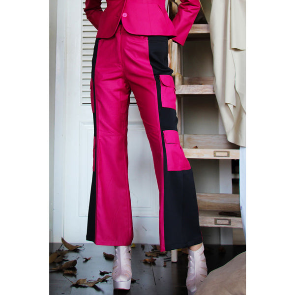 Cargo Pants with Six Pocket in Magenta-2MADISONAVENUE.COM