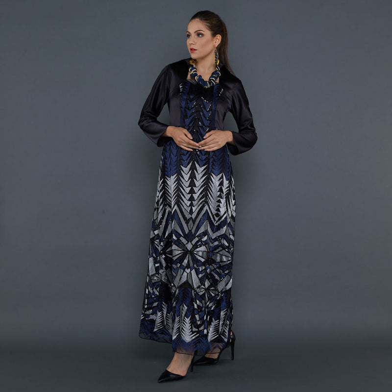 Melissa Dress in Blue Black-2Madison Avenue Indonesia