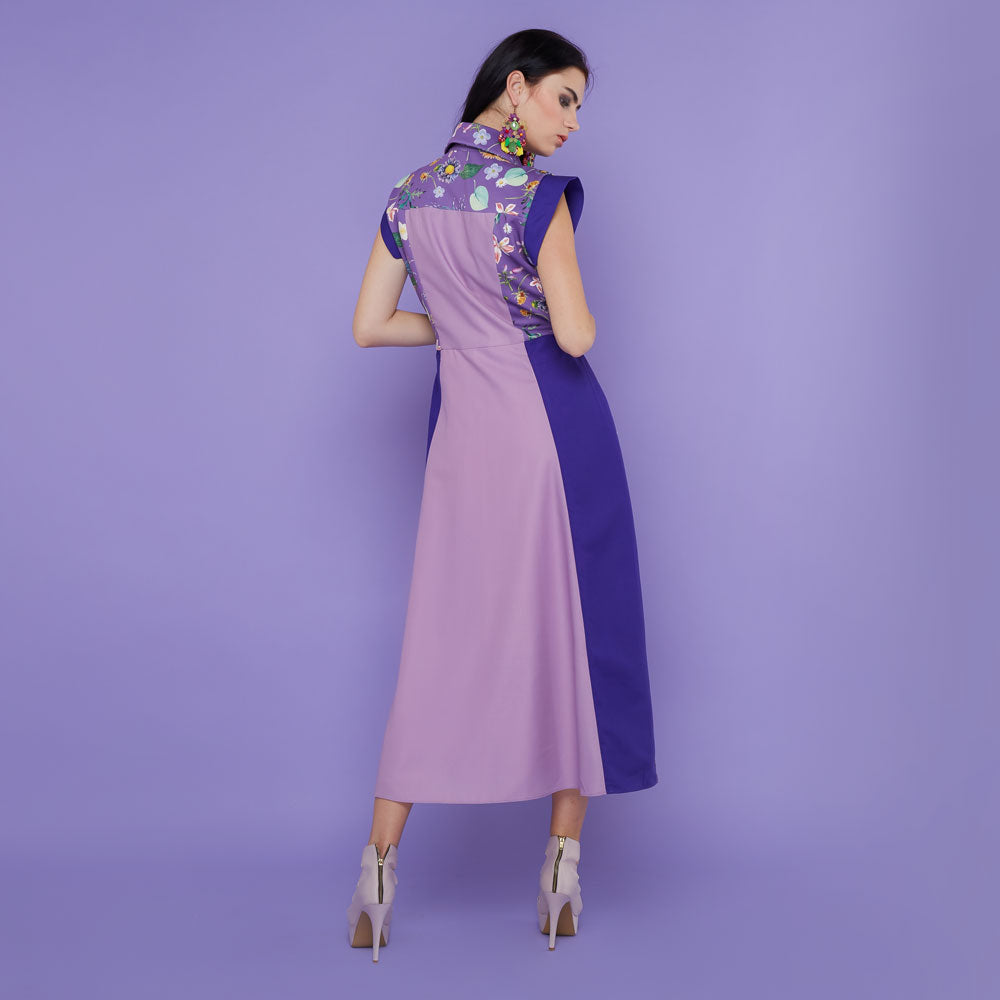 Regal Sleelevess Dress with Spring Garden In Purple-2MADISONAVENUE.COM