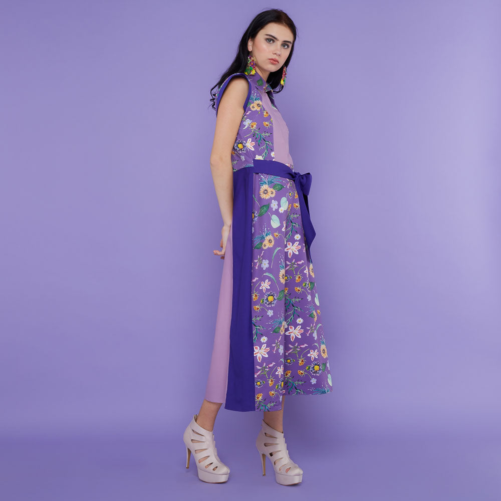 Regal Sleelevess Dress with Spring Garden In Purple-2MADISONAVENUE.COM (1904988422186)