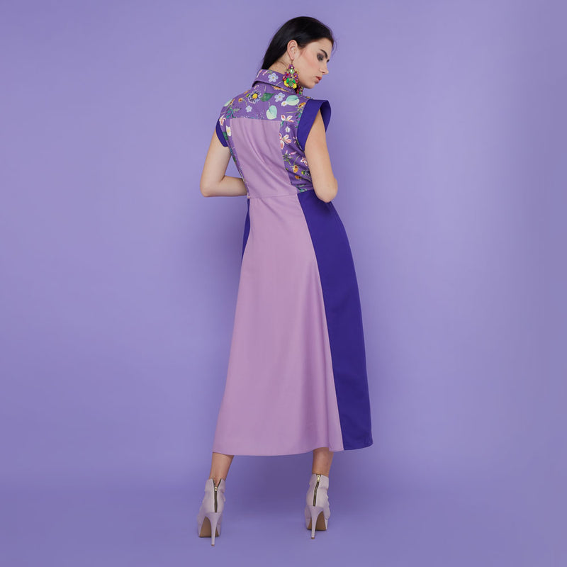 Regal Sleelevess Dress with Spring Garden In Purple
