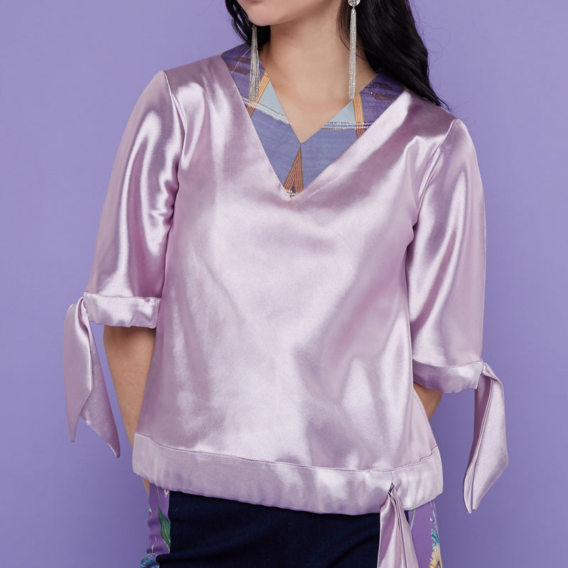 Basic Blouse In Purple With Tenun Accent-2MADISONAVENUE.COM