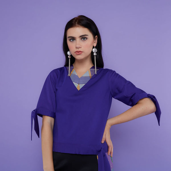 Cotton Blouse In Purple With Saroong Accent-2Madison Avenue Indonesia