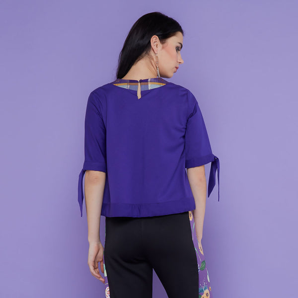 Cotton Blouse In Purple With Saroong Accent-2MADISONAVENUE.COM