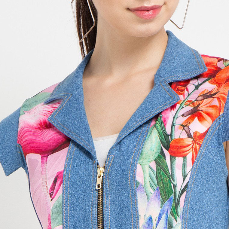 The Carrie Denim Vest in Miami Pink-2Madison Avenue Indonesia