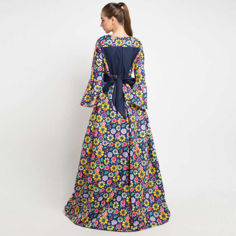 Flowery Orbital Long Dress-2MADISONAVENUE.COM