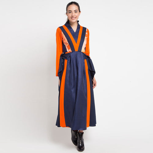 Tie Dress In Navy with Orbital Orange-2Madison Avenue Indonesia