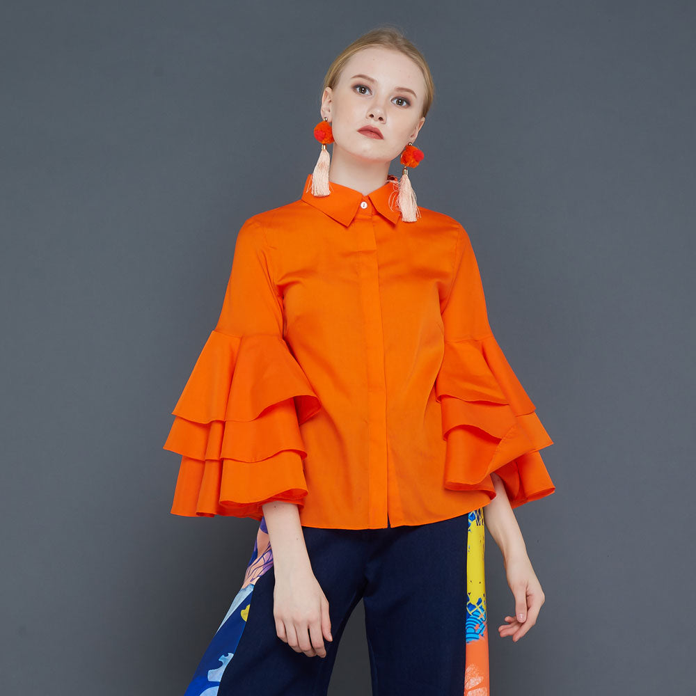 Tango Shirt in Orange-2MADISONAVENUE.COM