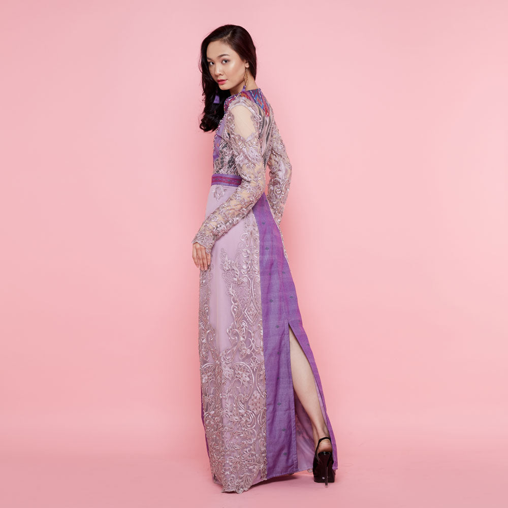 Helena Violet Dress with Sequince-2MADISONAVENUE.COM