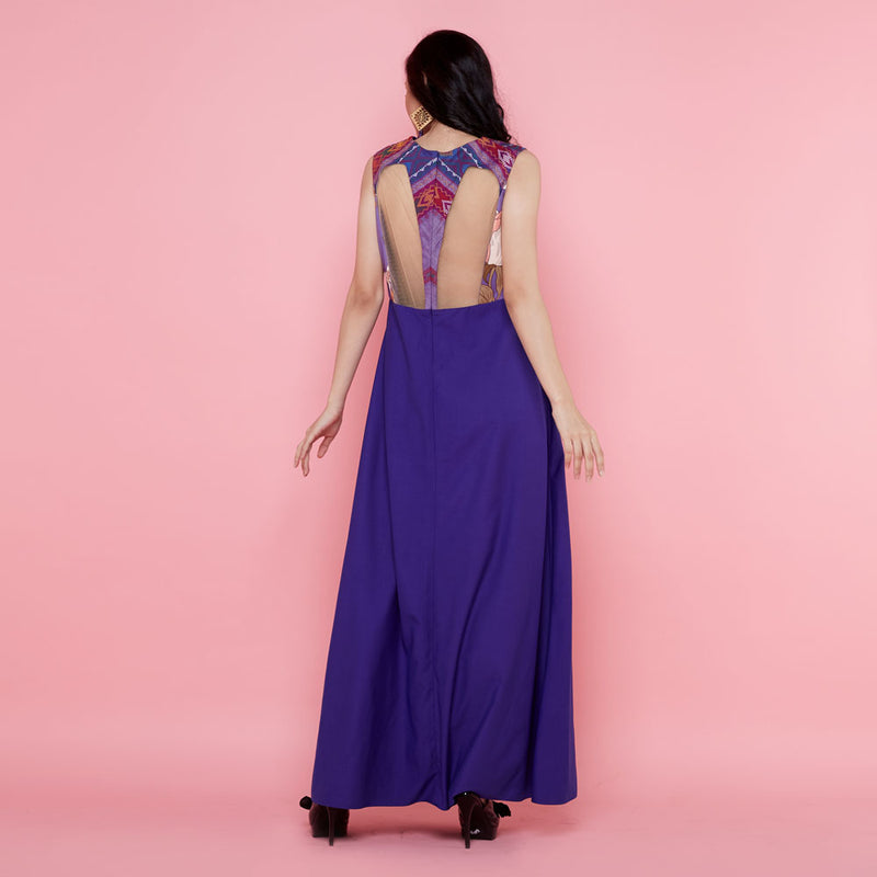 Cordelia Long Dress With Surprise Art In Purple with Ulos-2MADISONAVENUE.COM