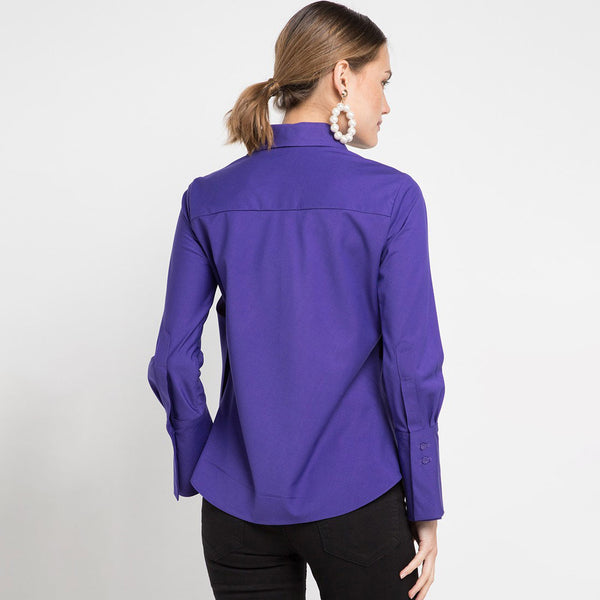 Fancy Blouse with attached Scarf in Purple-2MADISONAVENUE.COM