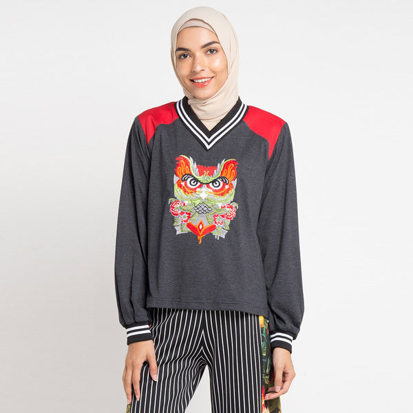 Ladies Sweater with Red Owl Embroidery-2Madison Avenue Indonesia