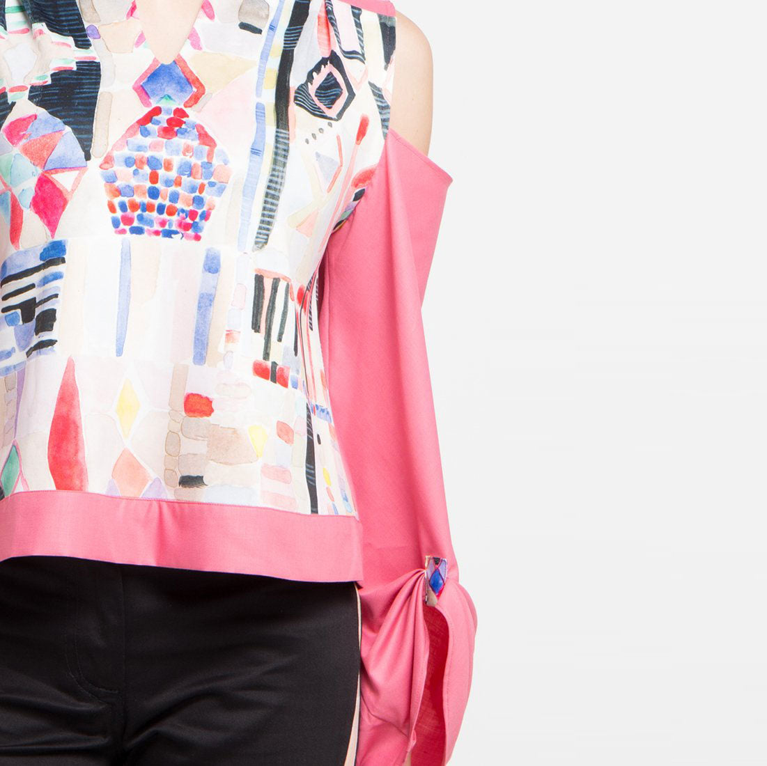 Abstraction with Peek a Boo Long Sleeve Blouse-2Madison Avenue Indonesia