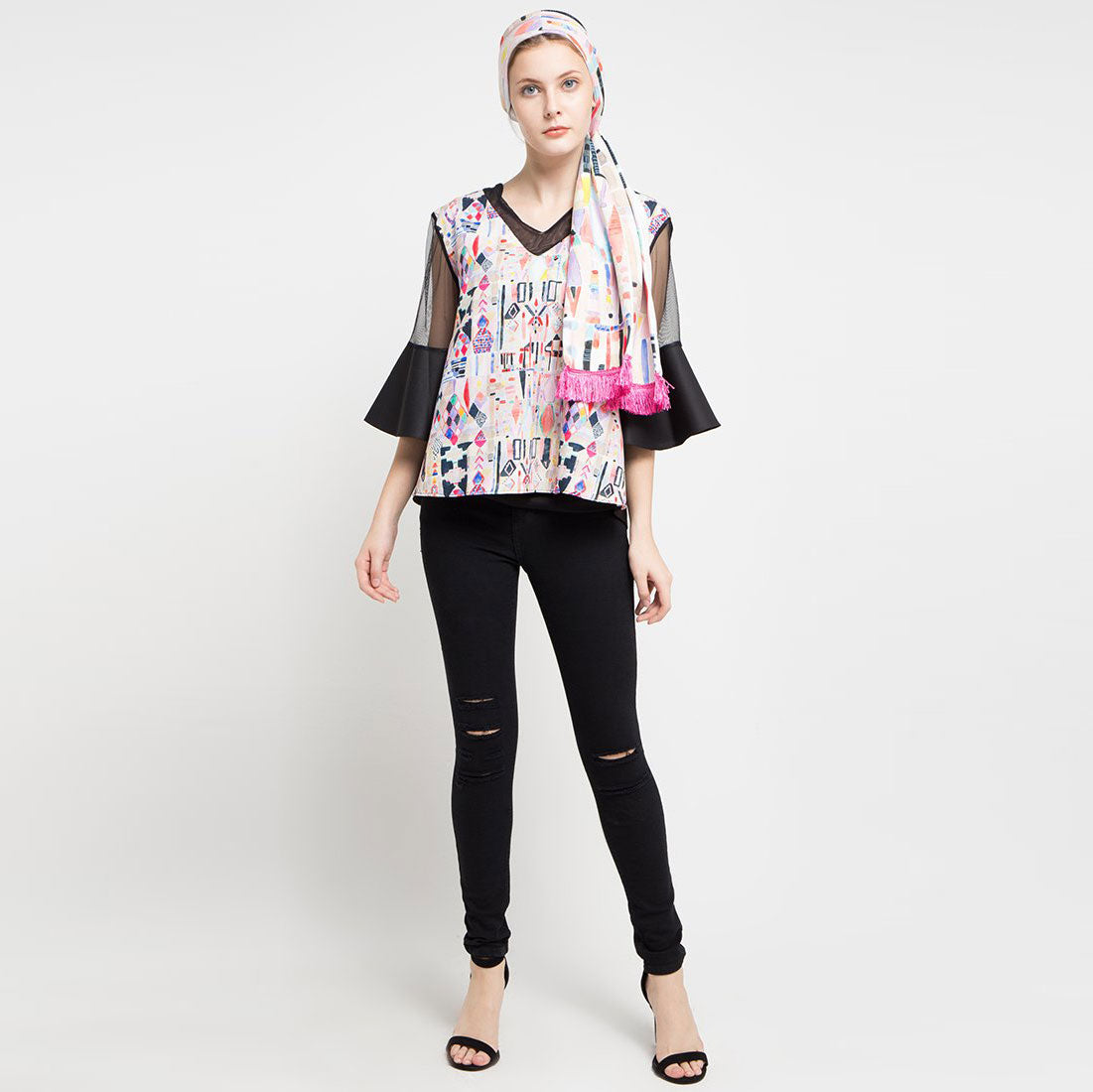 Fancy Blouse with Abstraction Art-2Madison Avenue Indonesia
