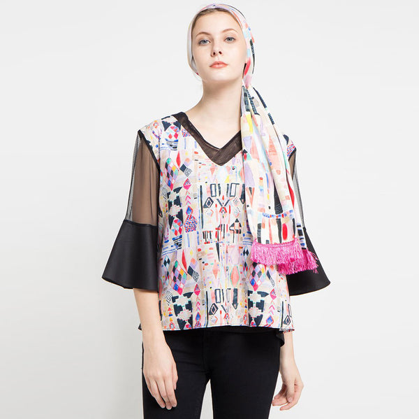 Fancy Blouse with Abstraction Art-2MADISONAVENUE.COM