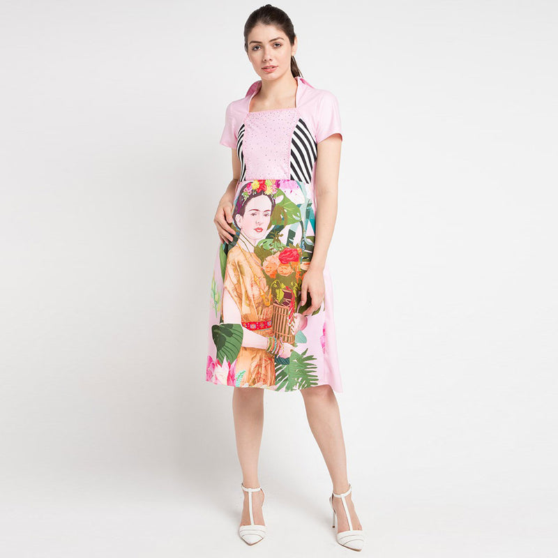 Merry Frida in Pink Bliss Short Sleeve Dress with Sequins-2Madison Avenue Indonesia