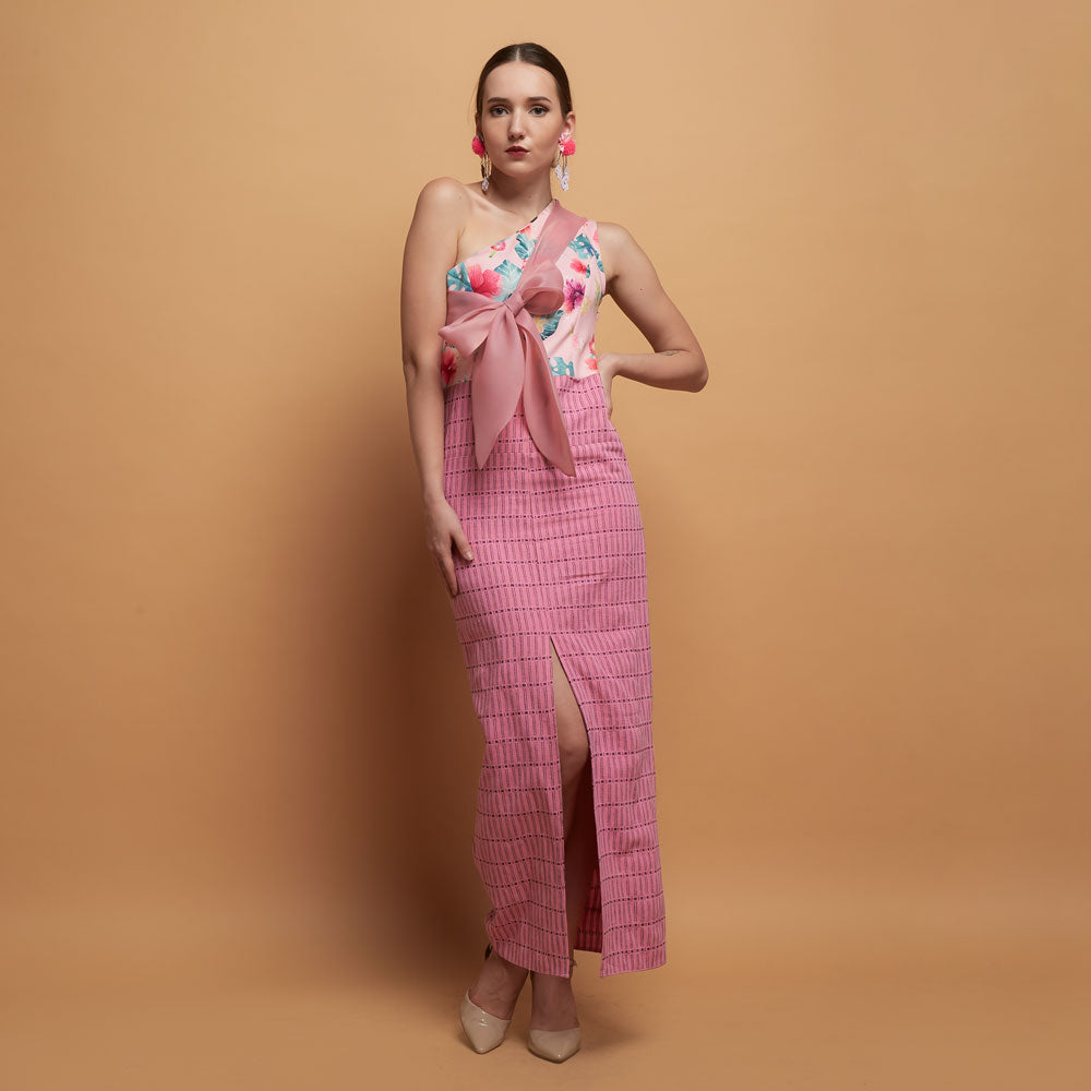 Kendall Sleevless Dress in Pink Bliss With Tenun-2MADISONAVENUE.COM