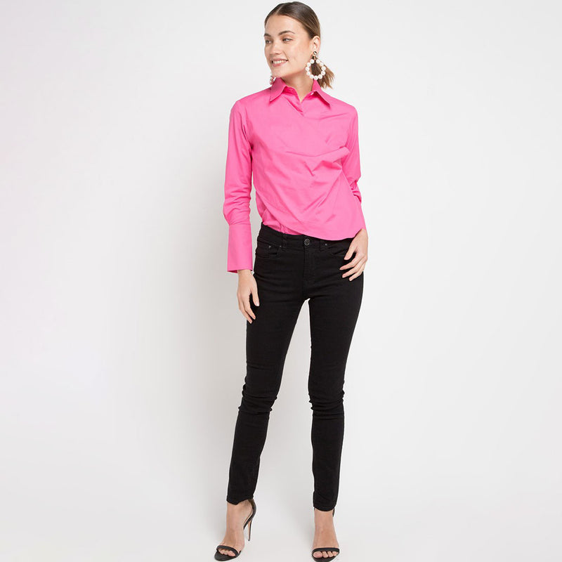Fancy Blouse with attached Scarf in Pink Barbie-2MADISONAVENUE.COM